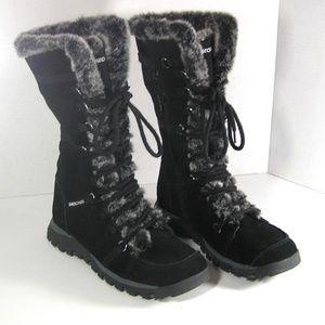 Sketchers Grand Jams Faux Fur Black Suede Boots 7